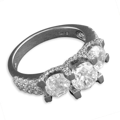 Sterling Silver Triple Cubic Zirconia with Fancy Cubic Zirconia Shoulders Ring