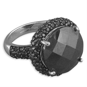 Sterling Silver Large Round Black Facetted Cubic Zirconia Cluster Ring