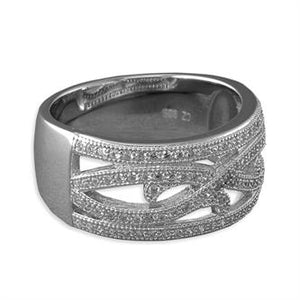 Sterling Silver Micro-Set Cubic Zirconia Fancy Waves Band Ring