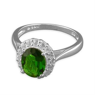 Sterling Silver Large Synthetic Emerald-White Cubic Zirconia Oval Cluster Ring