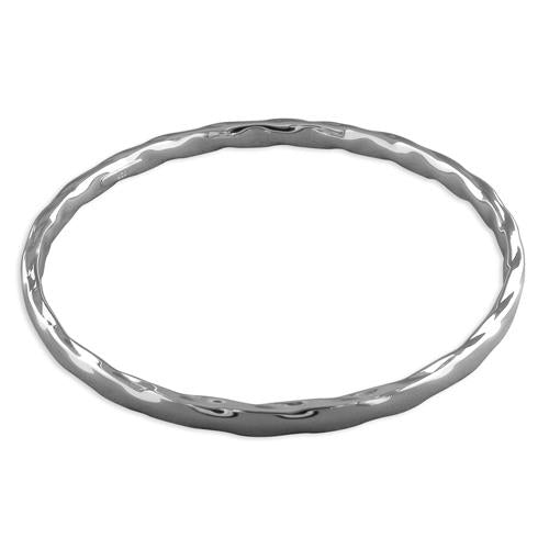 Sterling Silver White Thin Twisted Slave Bangle