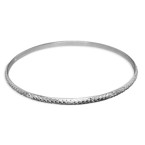 Sterling Silver White Criss-Crossed Diamond-Cut Thin Slave Bangle