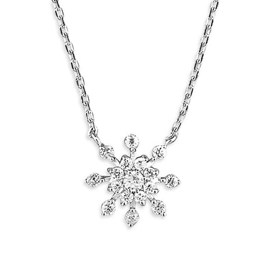 Sterling Silver CZ Snowflake with 41-46cm Chain Necklace
