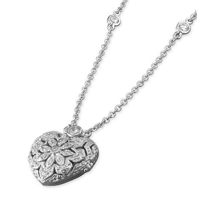 Sterling Silver Vintage-Style Cubic Zirconia Heart Locket On 41-46cm Chain Necklace