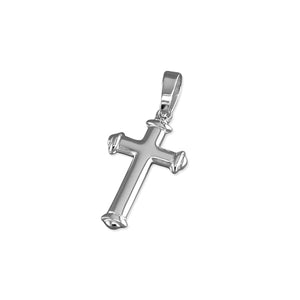 Sterling Silver Medium Plain with Banded Tips Cross