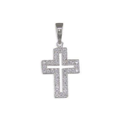 Sterling Silver Small Outline Pave Set Cubic Zirconia Cross
