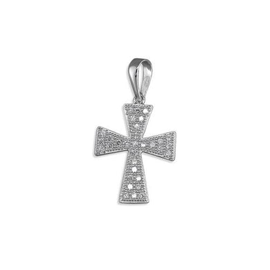 Sterling Silver Small Pave Set Cubic Zirconia Maltese Cross