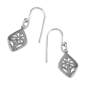Sterling Silver Cut-Out Flower Hook-In Drop Earring