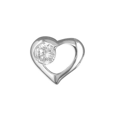 Sterling Silver Open Heart with Cubic Zirconia Pendant