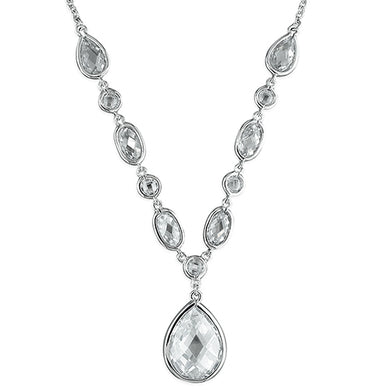 Sterling Silver Cubic Zirconias In Y with Teardrop Drop Necklace