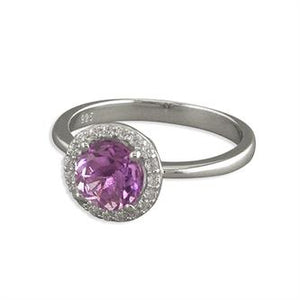 Jewellery Sterling Silver Ring Small round amethyst with cubic zirconia halo Women