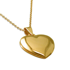 Sterling Silver Yellow 46cm Gold-Plated Heart Locket Necklace