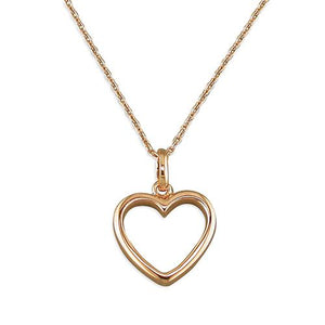 Sterling Silver Rose-Gold Plated Outline Heart Necklace