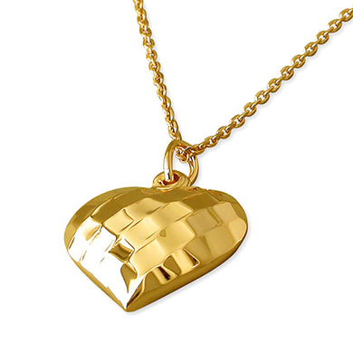 Sterling Silver Yellow Gold-Plated 46cm Facetted Heart Necklace