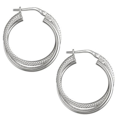 Sterling Silver Plain Textured Entwined Creole Hoop Earring