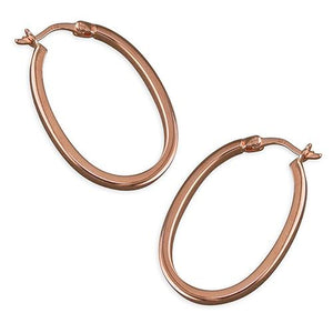 Sterling Silver Rose Gold-Plated 28mm Oval Hoop Earring