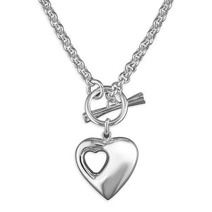 7b257004292 Sterling Silver Puffed Heart 42cm Hole In Heart with T-Bar Necklace – Queen  of Silver