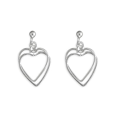 Sterling Interlocked Outline Hearts Drop Earring