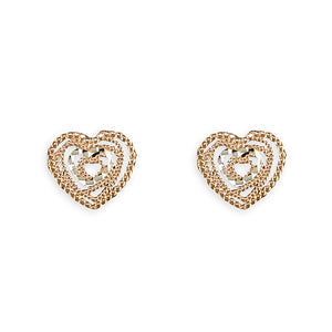 Sterling Silver Rose Gold-Plated Diamond-Cut Hearts Stud Earring