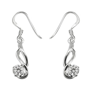Sterling Silver Round Cubic Zirconia In Double Swirl Hook-In Drop Earring