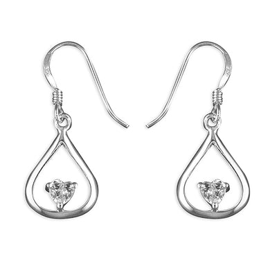 Sterling Silver Heart Cubic Zirconia In Outline Teardrop Hook-In Drop Earring