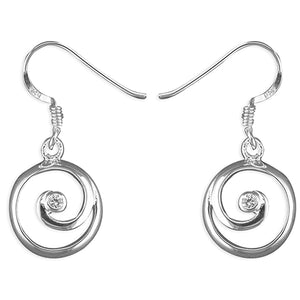 Sterling Silver Cubic Zirconia-Centered Round Spiral Hook-In Drop Earring