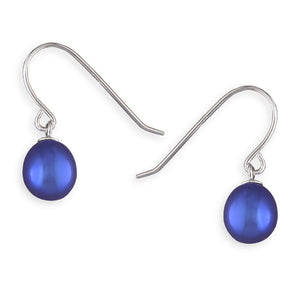 Sterling Silver Blue Freshwater Pearl Hook-In Drop Earring