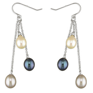 Sterling Silver White Silver Black Freshwater Pearls On Chains Hook-In Drop Earring