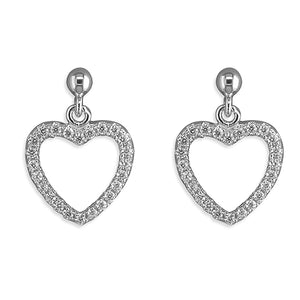 Sterling Silver Cubic Zirconia Outline Heart Drop Earring