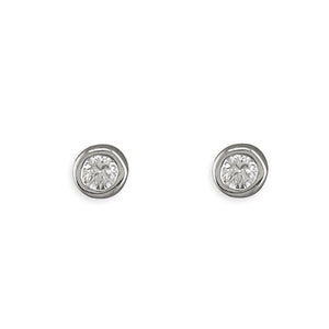 Sterling Silver Small Rub-Over Round Cubic Zirconia Stud Earring