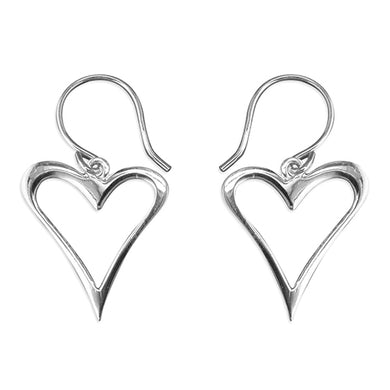 Sterling Silver Abstract Outline Heart Drop Earring
