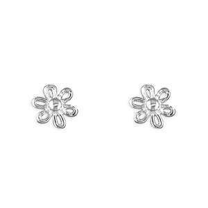 Sterling Silver Small Outline Flower Stud Earring