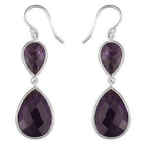 Sterling Silver Facetted Amethyst Opposing Teardrops Hook-In Drop Earring