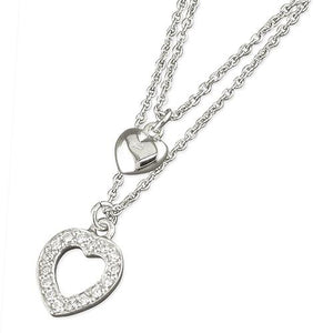 Sterling Silver Cubic Zirconia and Plain 38-42cm Hearts with Chain Necklace