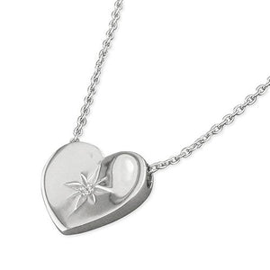 Sterling Silver Flat 42-45cm Heart with Starburst-Set Cubic Zirconia Necklace
