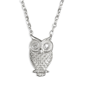 Sterling Silver 40-44cm Owl with Cubic Zirconia Eyes Necklace