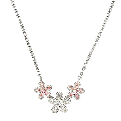 Sterling Silver Triple Cubic Zirconia 42-46cm Flowers Necklace