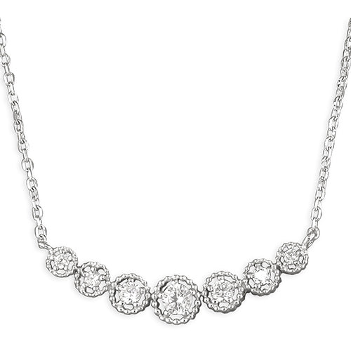 Sterling Silver Graduated 42-46cm Cubic Zirconias Curve Necklace