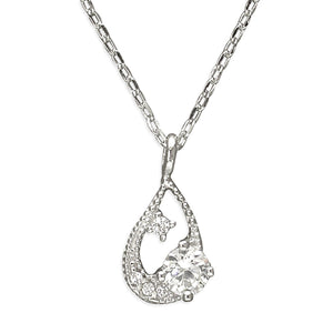 Sterling Silver Cubic Zirconia 38-43cm Abstract Teardrop Necklace