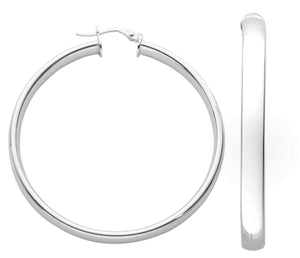 Sterling Silver Round Plain 5mm D-Shape Hoops - Queen of Silver