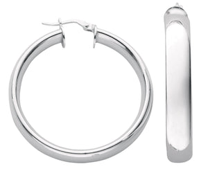 Sterling Silver Round Plain 6mm D-Shape Hoops - Queen of Silver