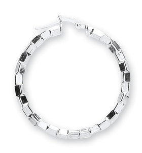 Sterling Silver Round Fancy Mirror-Cut Hoops - Queen of Silver