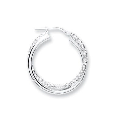 Sterling Silver Round Textured & Plain Double Tube Hoops - Queen of Silver