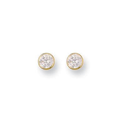 9ct Yellow Gold 6mm Rubover Set Cz Studs Earrings - Queen of Silver