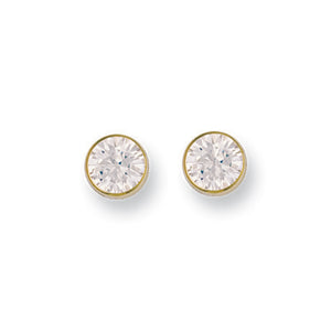 9ct Yellow Gold 7mm Rubover Set Cz Studs Earrings - Queen of Silver