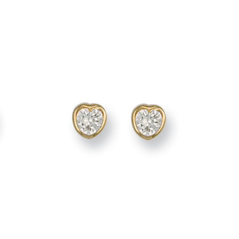 9ct Yellow Gold Rubover Set Heart Shaped Cz Studs Earrings - Queen of Silver