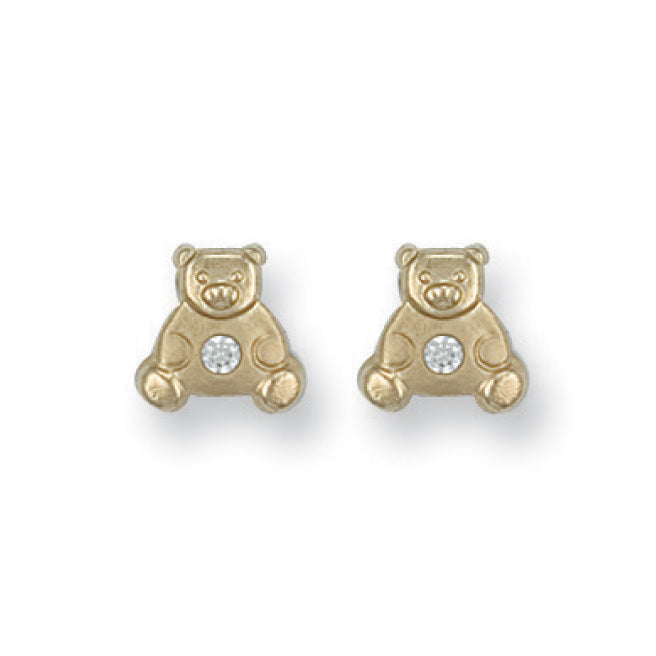 9ct Yellow Gold Cz Teddy Bear Studs Earrings - Queen of Silver
