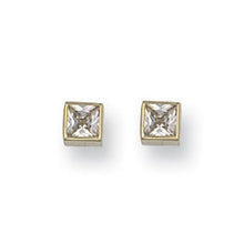 9ct Yellow Gold 5mm Rubover Set Princess Cut Studs Earrings - Queen of Silver