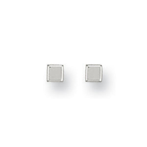 9ct White Gold 4mm Square Cube Studs Earrings - Queen of Silver