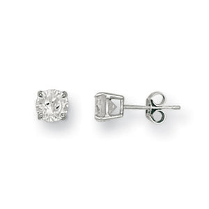 9ct White Gold 6mm Claw Set Cz Studs Earrings - Queen of Silver